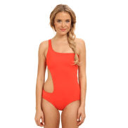 DKNY Solids One Shoulder Maillot w/ Asymmetrical Cut Out