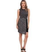DKNYC Sleeveless Faux Wrap Dress w/ Ponte Skirt and Faux Leather Trim
